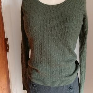 NEW CASHMERE Cable ScoopNeck RaglanSleeve Sweater